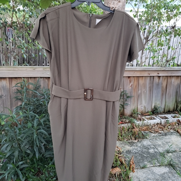 Green Olive dress with  buckle